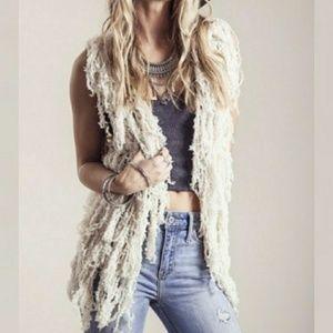 Cream Boho Knit Vest Size M
